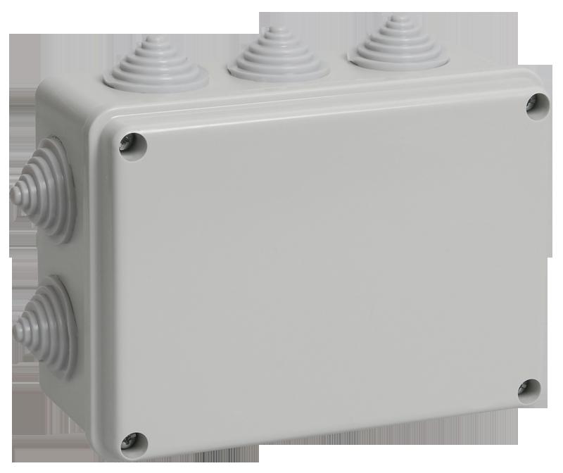 Коробка КМ41241 распаячная для о/п 150х110х70 мм IP44 (RAL7035, 10 гермовводов)
