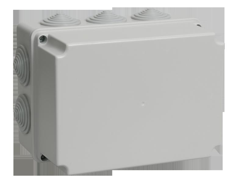 Коробка КМ41245 распаячная для о/п 190х140х120 мм IP44 (RAL7035, 10 гермовводов)