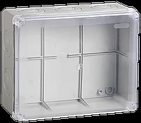 Коробка КМ41276 распаячная для о/п 240х195х90 мм IP55 (RAL7035, прозр. кр., кабельные вводы 5 шт)