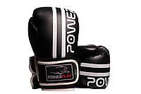 Боксерские перчатки PowerPlay 3010 Черно-Белые 8 унций, фото 1