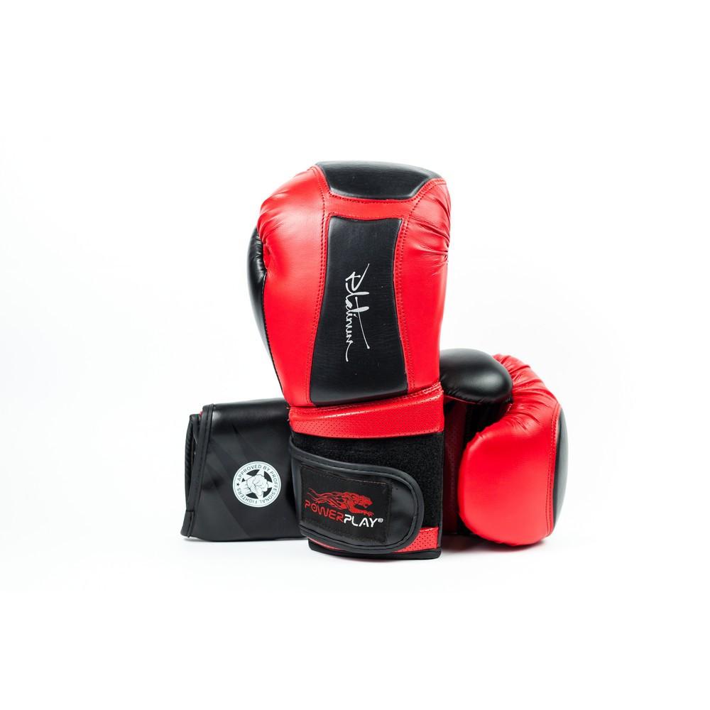 Боксерские перчатки PowerPlay 3020 Красно-Черный [натуральная кожа] + PU 10 унций