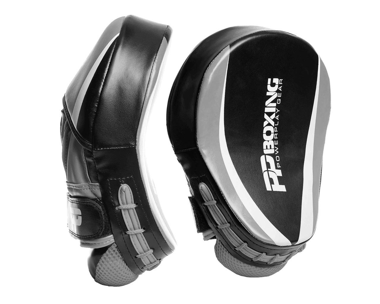 Лапы боксерские PowerPlay 3050 Черно-Cерые PU [пара]