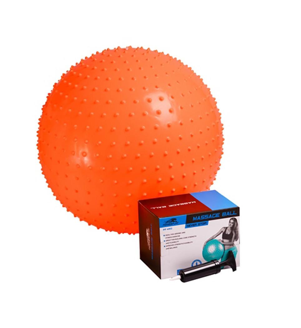 Мяч-массажер для фитнеса PowerPlay 4002 55см Оранжевый + насос