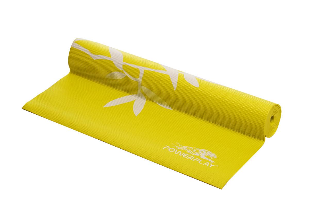 Коврик для фитнеса и йоги PowerPlay 4011 (173 * 61 * 0.8) Желтый