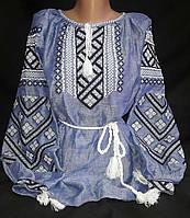 Женская вышиванка на джинсовом натуральном льне