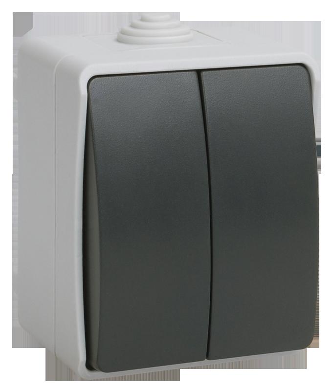 ВС20-2-0-ФСр Выключатель двухклавишный для открытой установки ФОРС IP54 IEK