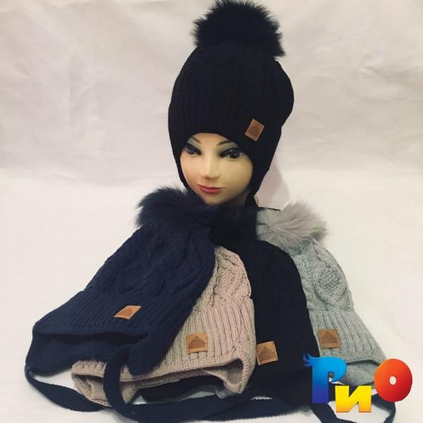Детская вязанная шапочка на флисе, на завязках, для девочек р-р 52 (5 ед в уп) NA_А790