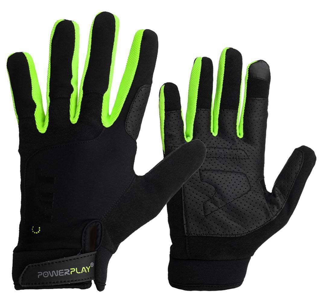Перчатки для Кроссфит PowerPlay Hit Full Finger Черно-Зеленые XL