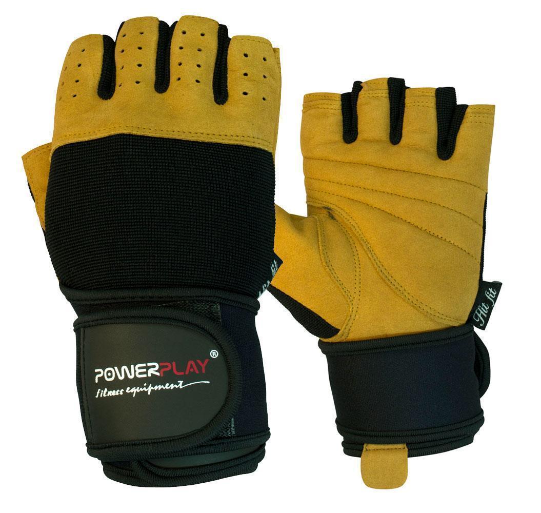 Перчатки для фитнеса PowerPlay 1069 А Черно-Коричневые S