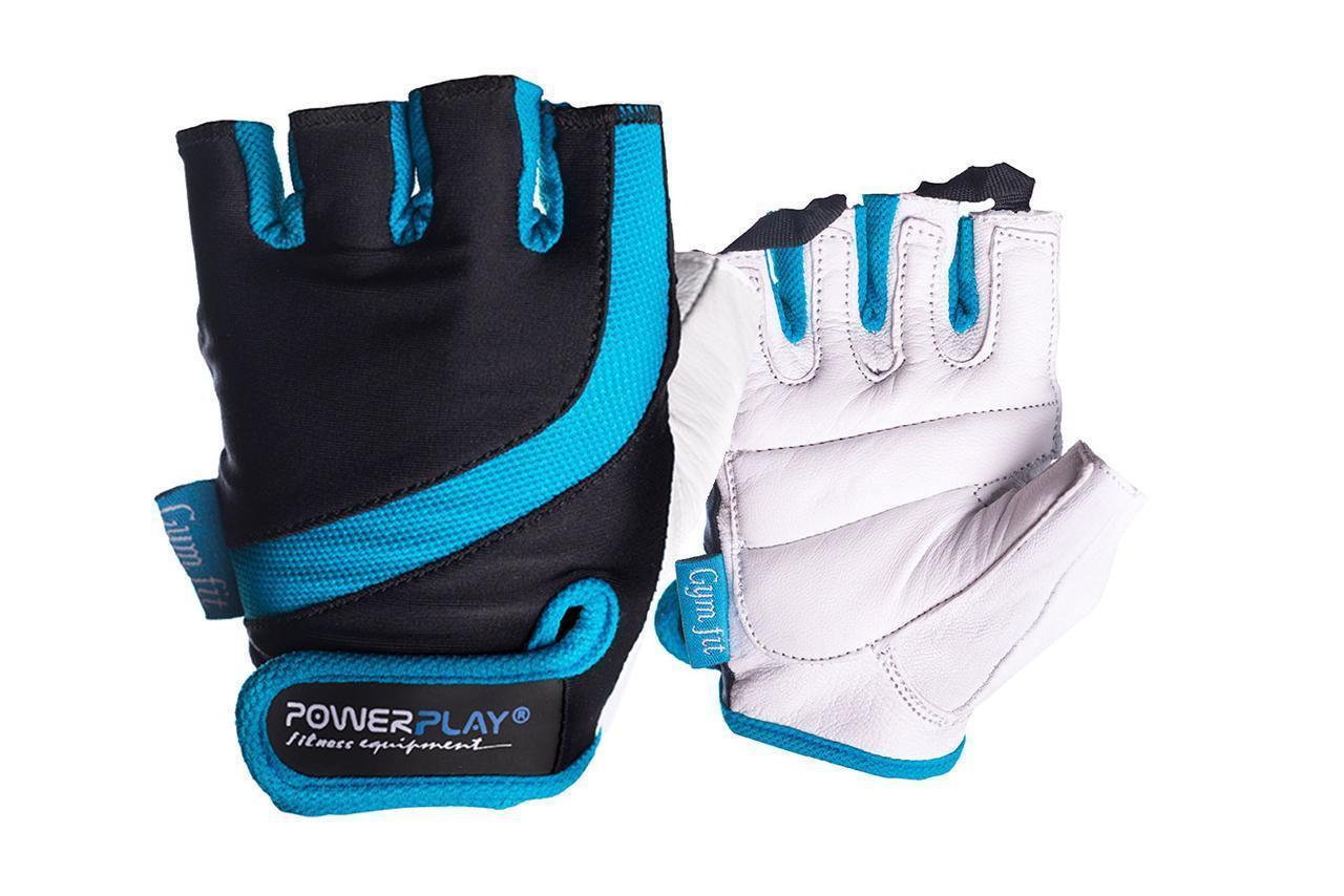 Перчатки для фитнеса PowerPlay 2311 женские Черно-Голубые XS