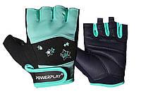Перчатки для фитнеса PowerPlay 3492 женские Черно-Мятные M, фото 1