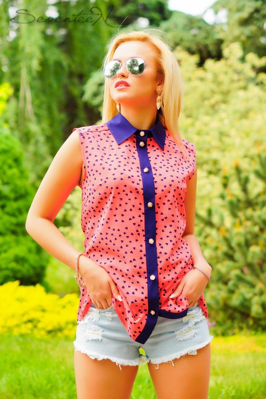 Яркая блуза, летняя, рубашечного покроя, воротник, креп-шифон, фото 1