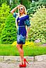 Стильное и эффектное платье, с тонким пояском на линии талии, прямое, синее, микромасло