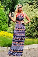 Шикарное платье в пол, высокий пояс на завязке, микромасло, фото 1