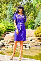Свободное платье до колена, электрик, микромасло, фото 1