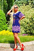 Стильное и эффектное платье, с тонким пояском на линии талии, прямое, синее, микромасло, фото 1
