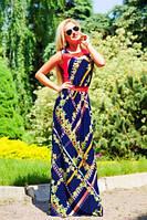 Легкое и необычайно нежное платье с оригинальным цветочным рисунком, длинное, микромасло, фото 1