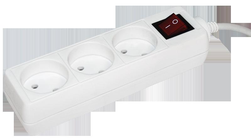 Удлинитель У3К-выкл. 3 места 2Р/5метров 2х0.75мм2 10А/250 IEK