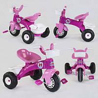 Трехколесный велосипед  07-169 (1) цвет БЕЛО-РОЗОВЫЙ, пластиковые колеса с прорезиненой накладкой, корзинка, багажник