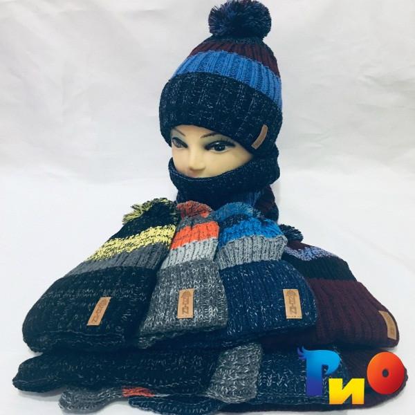 Детская вязаная шапочка с хомутом, на флисе, для мальчиков р-р 52 (5 ед в уп) NA_А390