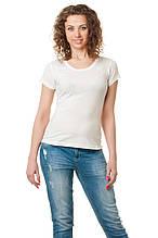 Женская классического кроя футболка, по фигуре, однотонная, белая