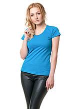 Женская классического кроя футболка, по фигуре, однотонная, бирюзовая