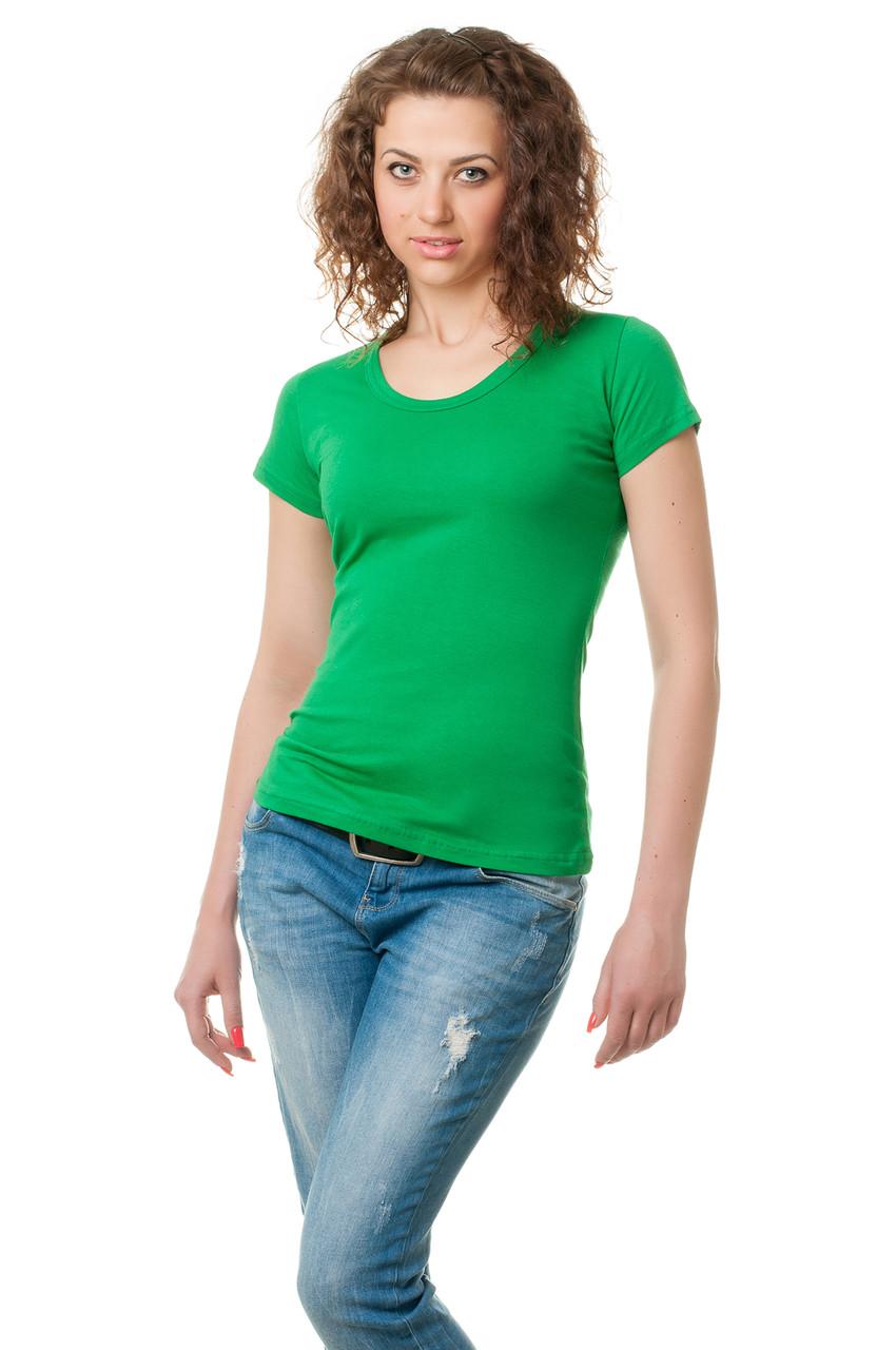 Жіноча класичного крою футболка, по фігурі, однотонна, кольору зеленої трави
