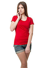 Женская классического кроя футболка, по фигуре, однотонная, красная