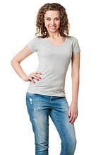 Женская классического кроя футболка, по фигуре, однотонная, меланжевая