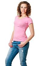 Женская классического кроя футболка, по фигуре, однотонная, розовая