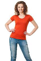 Женская классического кроя футболка, по фигуре, однотонная, рыжая