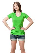 Женская классического кроя футболка, по фигуре, однотонная, салатовая