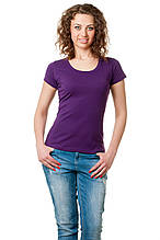 Женская классического кроя футболка, по фигуре, однотонная, фиолетовая