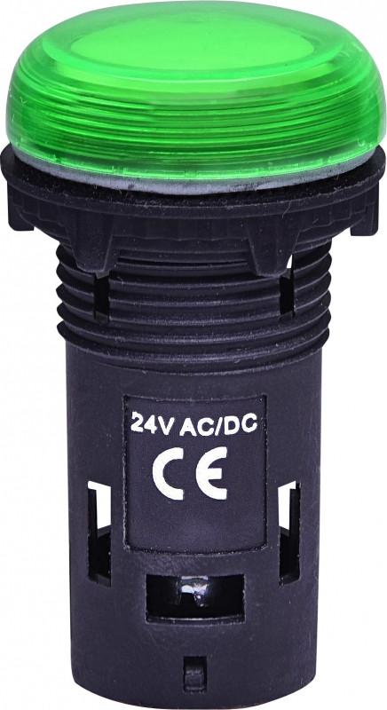 Лампа сигнал. LED матовая ECLI-024C-G 24V AC/DC (зеленая)