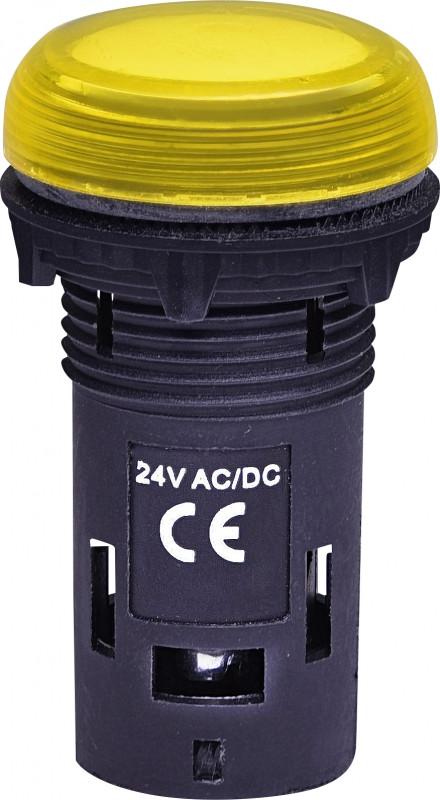 Лампа сигнал. LED матовая ECLI-024C-Y 24V AC/DC (желтая)