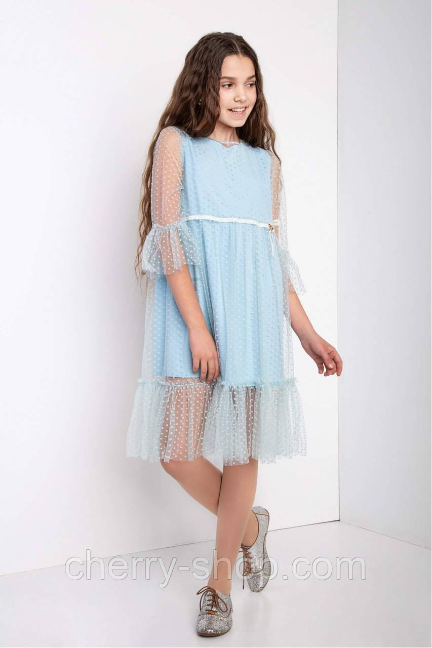 Подростковое нарядное двухслойное платье