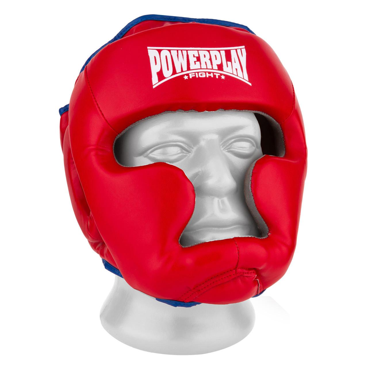 Боксерский шлем тренировочный PowerPlay 3068 PU + Amara Красно-Синий M