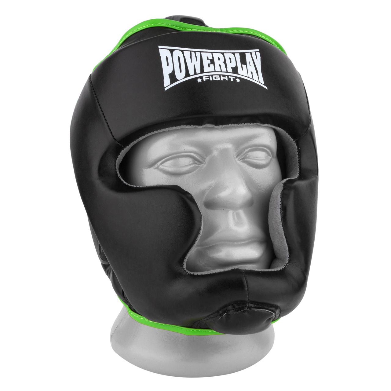 Боксерский шлем тренировочный PowerPlay 3068 PU + Amara Черно-Зеленый S