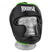 Боксерский шлем тренировочный PowerPlay 3068 PU + Amara Черно-Зеленый S, фото 1