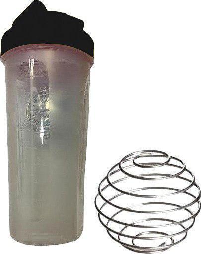 Шейкер спортивный Shake Bottle 700 мл. с венчиком Прозрачно-Черный