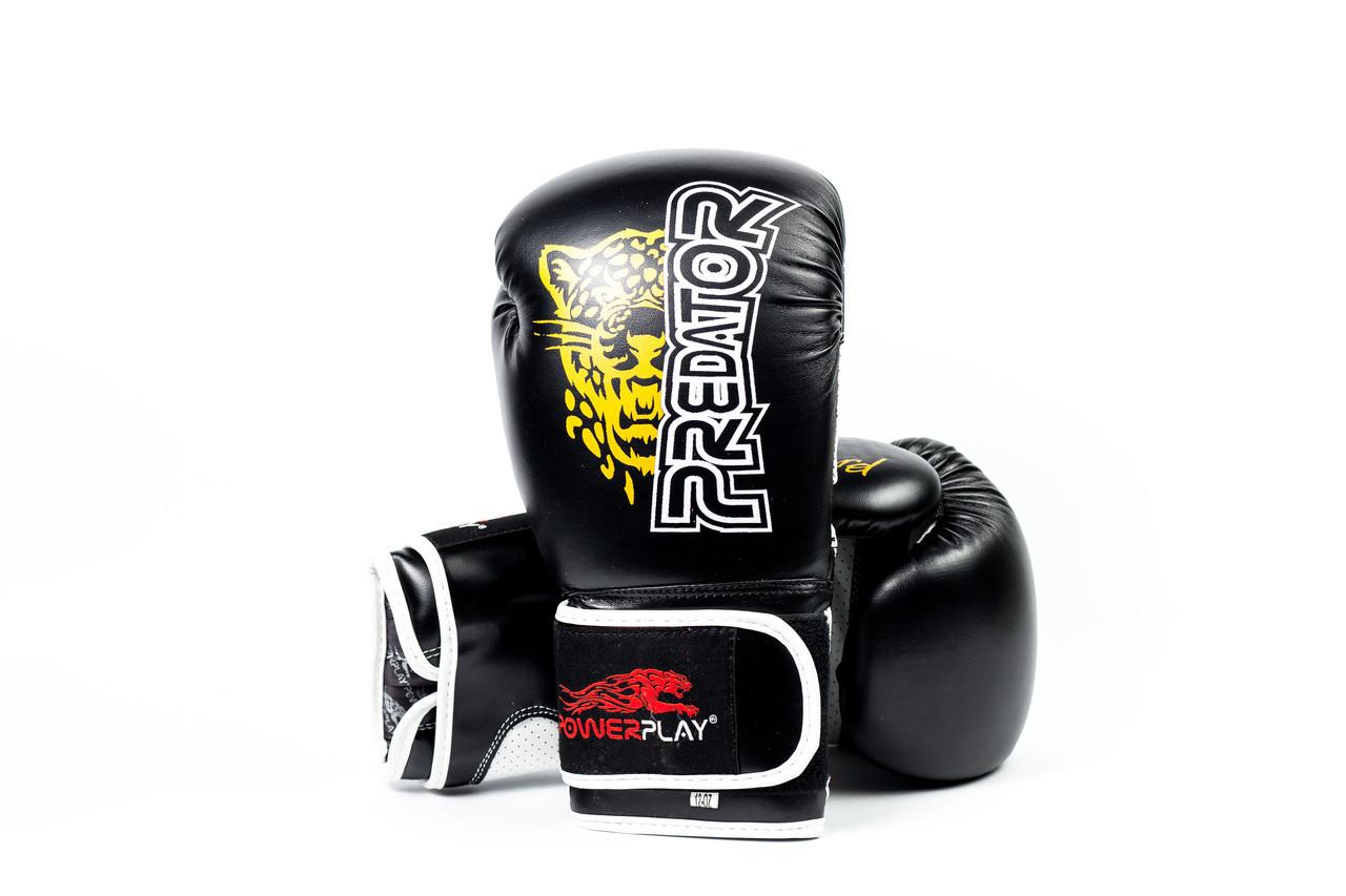 Боксерские перчатки PowerPlay 3009 Черные 8 унций