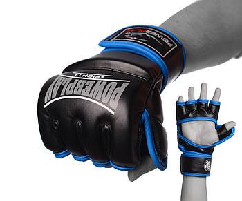 Перчатки для MMA PowerPlay 3058 Черно-Синие S/ M / L / XL
