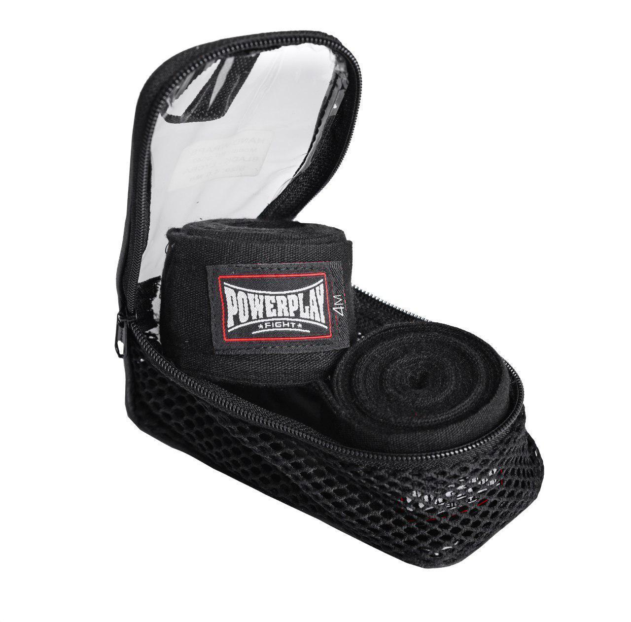 Бинты для бокса PowerPlay 3047 Черные (4м)