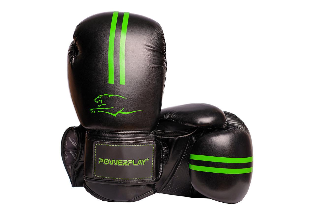 Боксерские перчатки PowerPlay 3016 Черно-Зеленые 10 унций