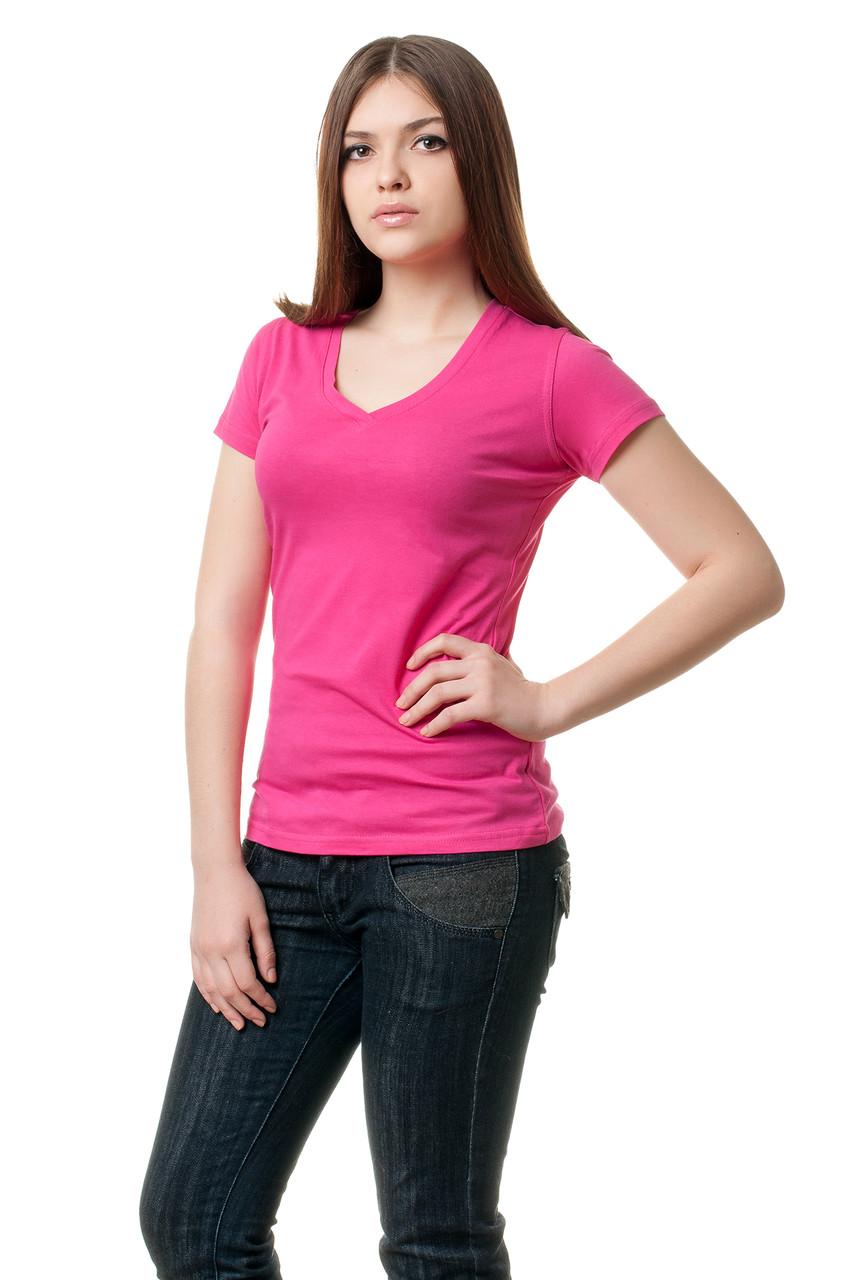 Женская однотонная футболка прилегающего кроя с V-образным вырезом, малиновая