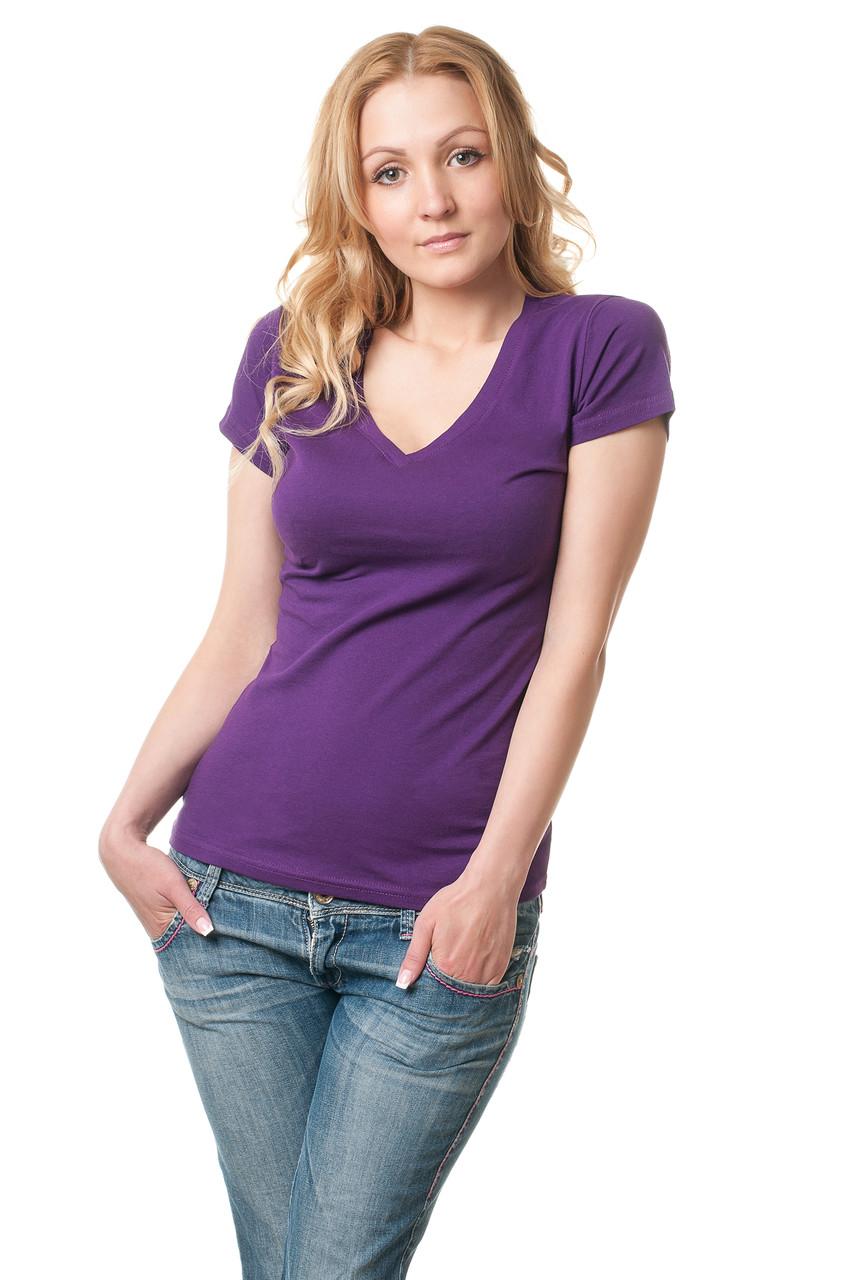 Женская однотонная футболка прилегающего кроя с V-образным вырезом, темно-сиреневая