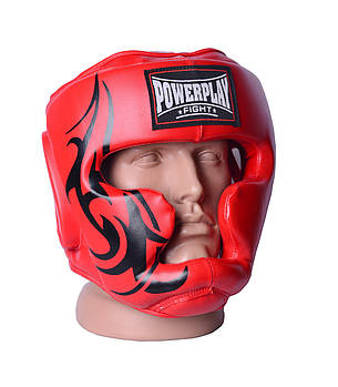 Боксерский шлем тренировочный PowerPlay 3043 Красный S / M / L / XL