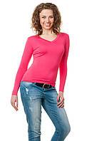 Женская однотонная футболка прилегающего кроя c длинным рукавом и V-образным вырезом, малиновая
