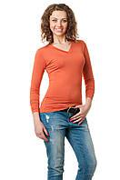 Женская однотонная футболка прилегающего кроя c длинным рукавом и V-образным вырезом, рыжая