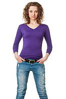 Женская однотонная футболка прилегающего кроя c длинным рукавом и V-образным вырезом, фиолетовая